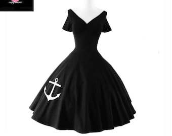 Sale! Black & White ANCHOR Swing Dress, Casual Stretch Knit Party Dress by Hardley Dangerous Couture, 1950s Style Pin Up Party Dress