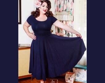 """Sale! Mod Navy Blue Cherrybomb Short Sleeve Swing Dress by Harldey Dangerous, MISSES Knee Length 38"""""""