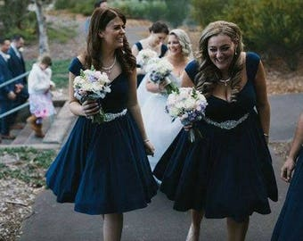 2 Pin Up Couture BRIDESMAID Dresses, Midnight Navy Blue Multiway Swing Dresses, Custom Handmade by Hardley Dangerous of Los Angeles