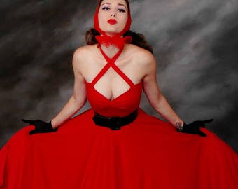 """Cherry RED Cherrybomb 2-in-1 Multiway Halter Dress by HARDLEY DANGEROUS 1950s Rockabilly Pinup Bridesmaid Wedding 43"""" Mid Calf Length"""
