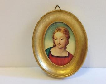 Vintage Florentine Madonna ~ Gold Gilt Oval Frame ~ Italy