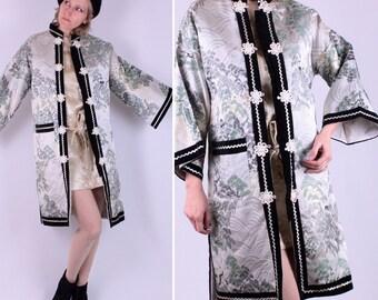 59226f30d Gorgeous Silver 60's Mod Asian Kimono/Jacket Sm Med