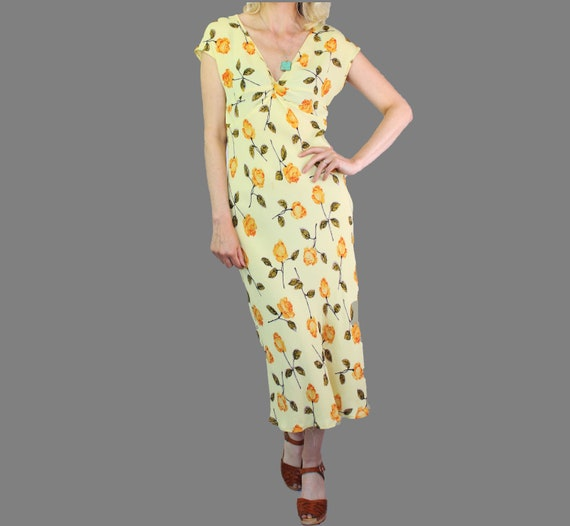 Lovely True Vintage Boho 80's Yellow Floral Rayon