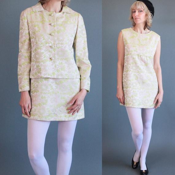 Classic Mod 1960's Sateen Mini Dress with Jacket