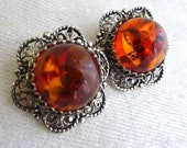 Vintage Large Amber and Silver Earrings, Filigree, Clip, Cabochon Amber, Statement, Chunky