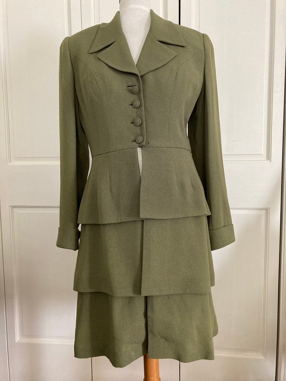 Vintage Zelda Crepe Coat, Dress, Olive Green, Size