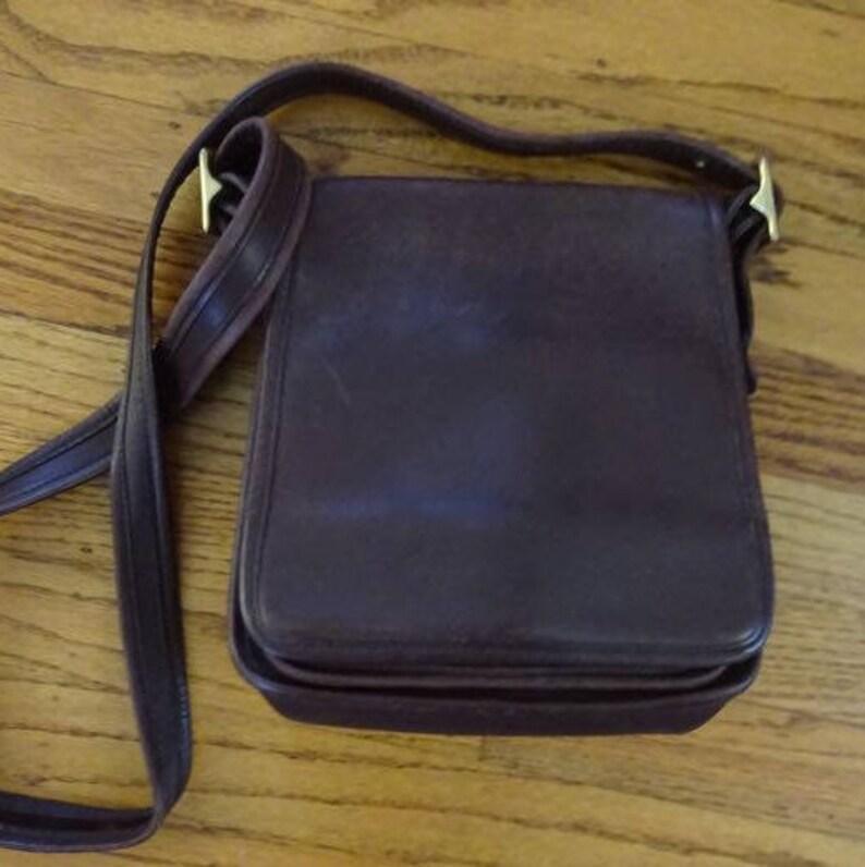 a54d3a3b22 Vintage Coach Leather Crossbody Bag Dark Brown 4 Pockets