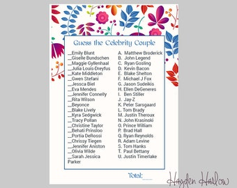 guess the celebrity couple bridal shower game printable games instant download modflower17