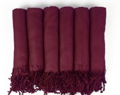 SET of 2, 3, 4, 5, 6, 7, 8, 9 or 10 Pashmina shawls in WINE-Burgundy - Bridesmaid Gift, Wedding Favor - Monogrammable