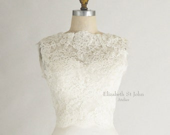 IVY |Alencon lace bridal top - optional cap or long sleeves - covered back buttons