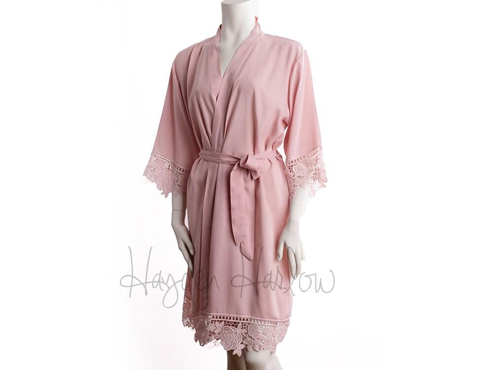 13ae9ee254 PETAL-BLUSH Pink Cotton Robe matching LUX lace trim