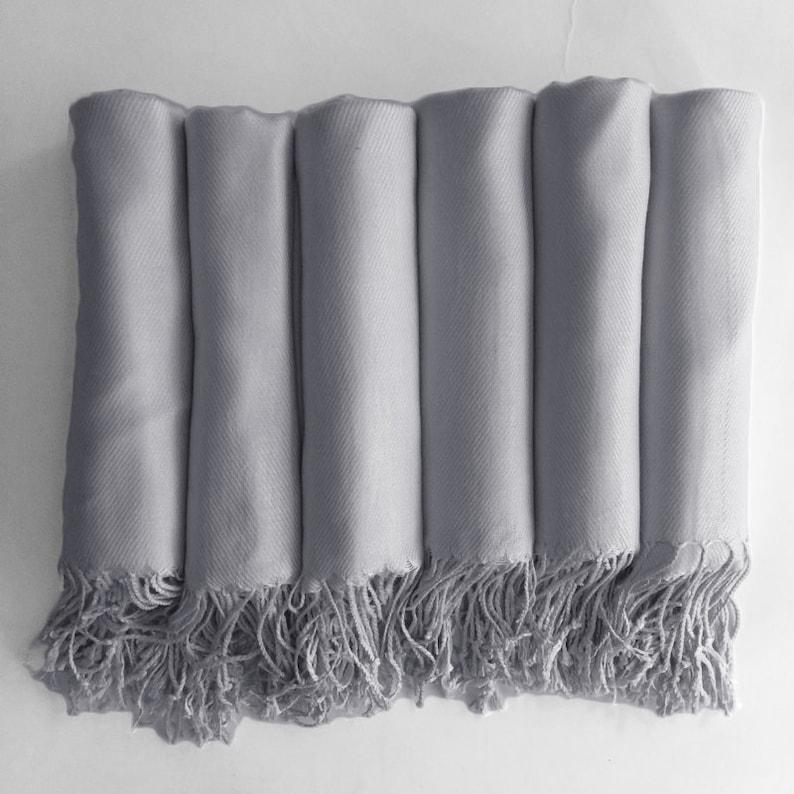 READY TO SHIP  Pashmina shawl in Silver Grey  Bridesmaid image 0