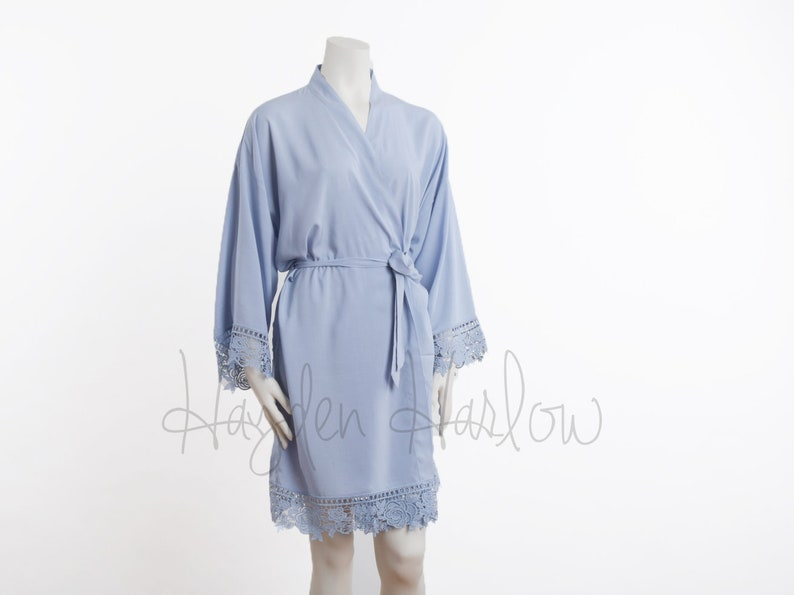 eb19eab708 PERIWINKLE blue Cotton Robe matching LUX lace trim