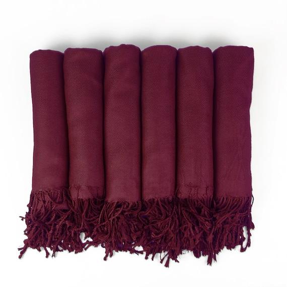 SET of 2 7 6 8 Monogrammable Wedding Favor 4 3 9 or 10 Pashmina shawls in WINE-Burgundy 5 Bridesmaid Gift