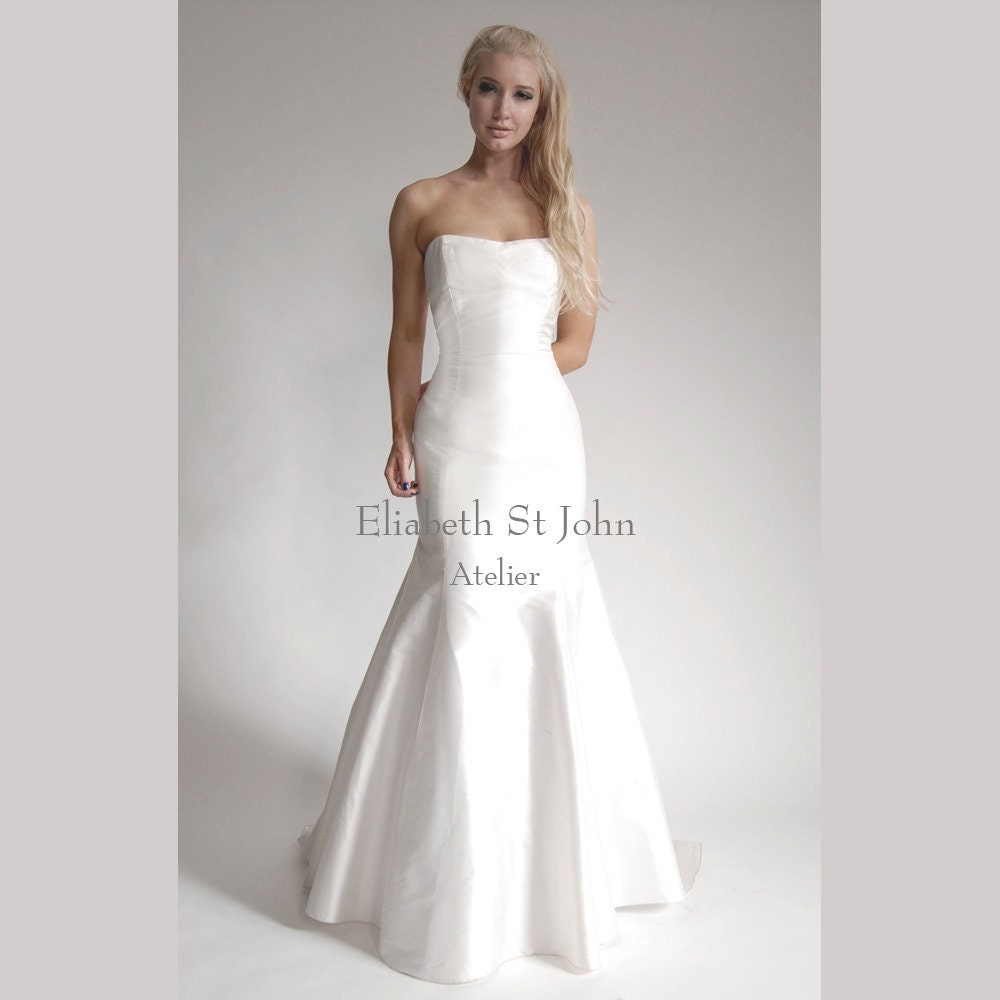 7263039606e LUCY Silk Shantung strapless fit-and-flare bridal gown wedding