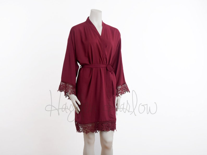 ee1a35c554 CRANBERRY Red Cotton Robe matching LUX lace trim