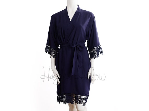 ca5d2d6437 MIDNIGHT NAVY Cotton Robe matching LUX lace trim