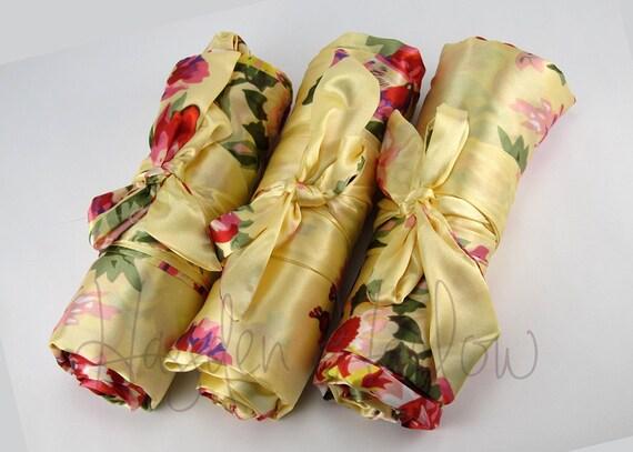 golden yellow floral satin robe bridesmaid or flowergirl etsy. Black Bedroom Furniture Sets. Home Design Ideas