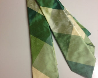 Silk Men's Long Tie Green colorblock plaid / LIMITED EDITION / Groomsmen