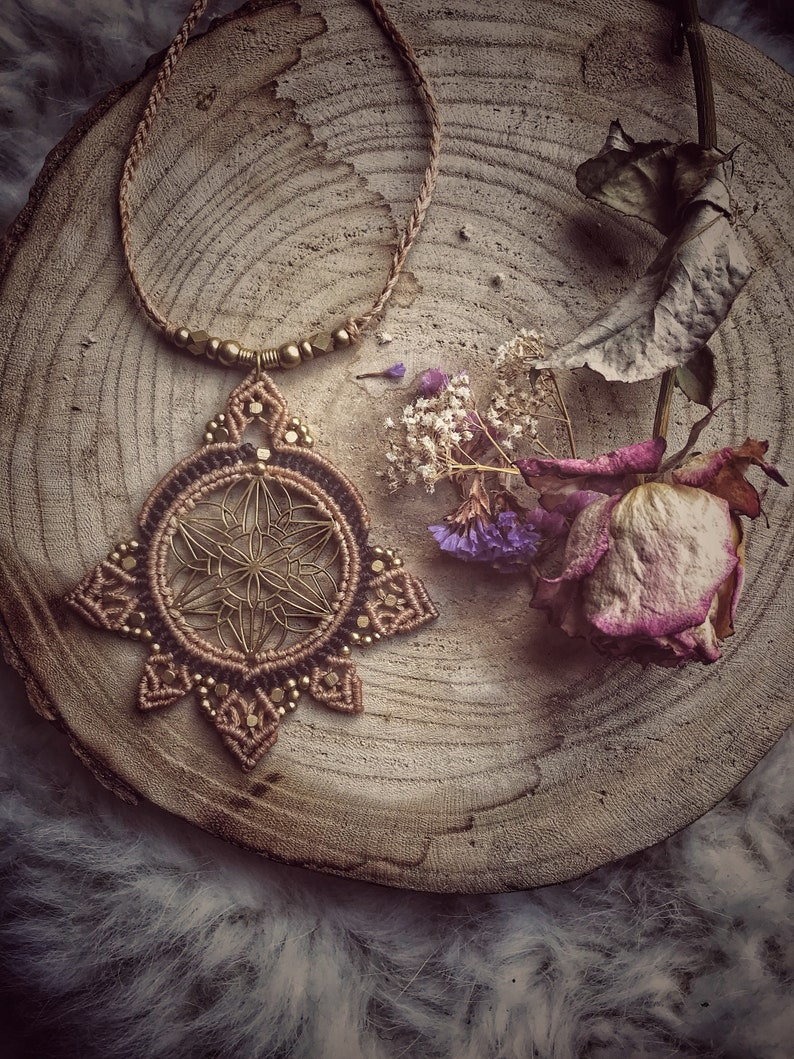 SACRED GEOMETRY Tribal flower of life macrame Necklace Gipsy natural power  unique peace