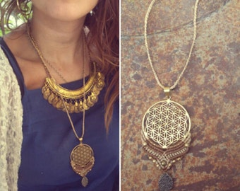 Sacred Flower of Life Mandala Dreamcatcher Makrame Gipsy Tribal Necklace