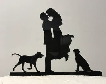 Kissng Couple With Dogs Silhouette Wedding Cake Topper #17 MADE In USA…..Ships from USA