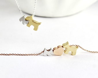 Two dog necklace,2 pets necklaces,pet charm,Big dog Small dog necklaces,animal necklaces,rose gold heart necklaces,animal jewelry, Dog Lover