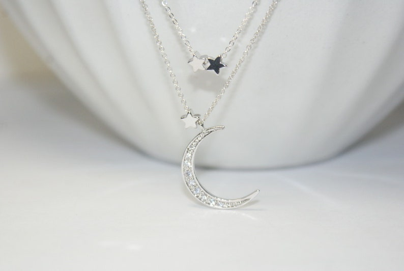 Three star necklace.CZ Moon Charm,Two  Layered Jewelry,everyday necklace Silver Moon star necklace Moon necklace Crescent Moon Necklace