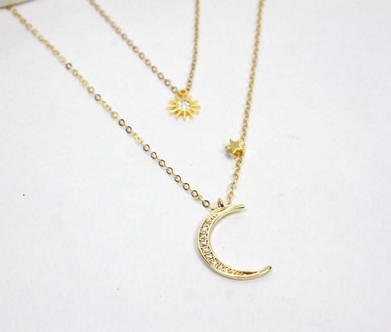 d1ab6c791c8be Sun Moon Star Necklace.Gold CZ Moon Necklace Necklace, Gold CZ Sun star  jewelry, gift for women, Layering necklace layered necklace,sparking
