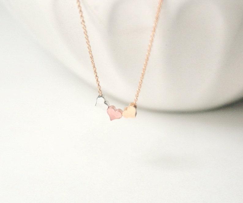 54b4ddba2cb52 Tiny Hearts Necklace, Minimalist Heart necklace,Minimal Necklace,Feminine  Necklace,Three tone Metal jewelry,Three Best Friends,Three Sisters