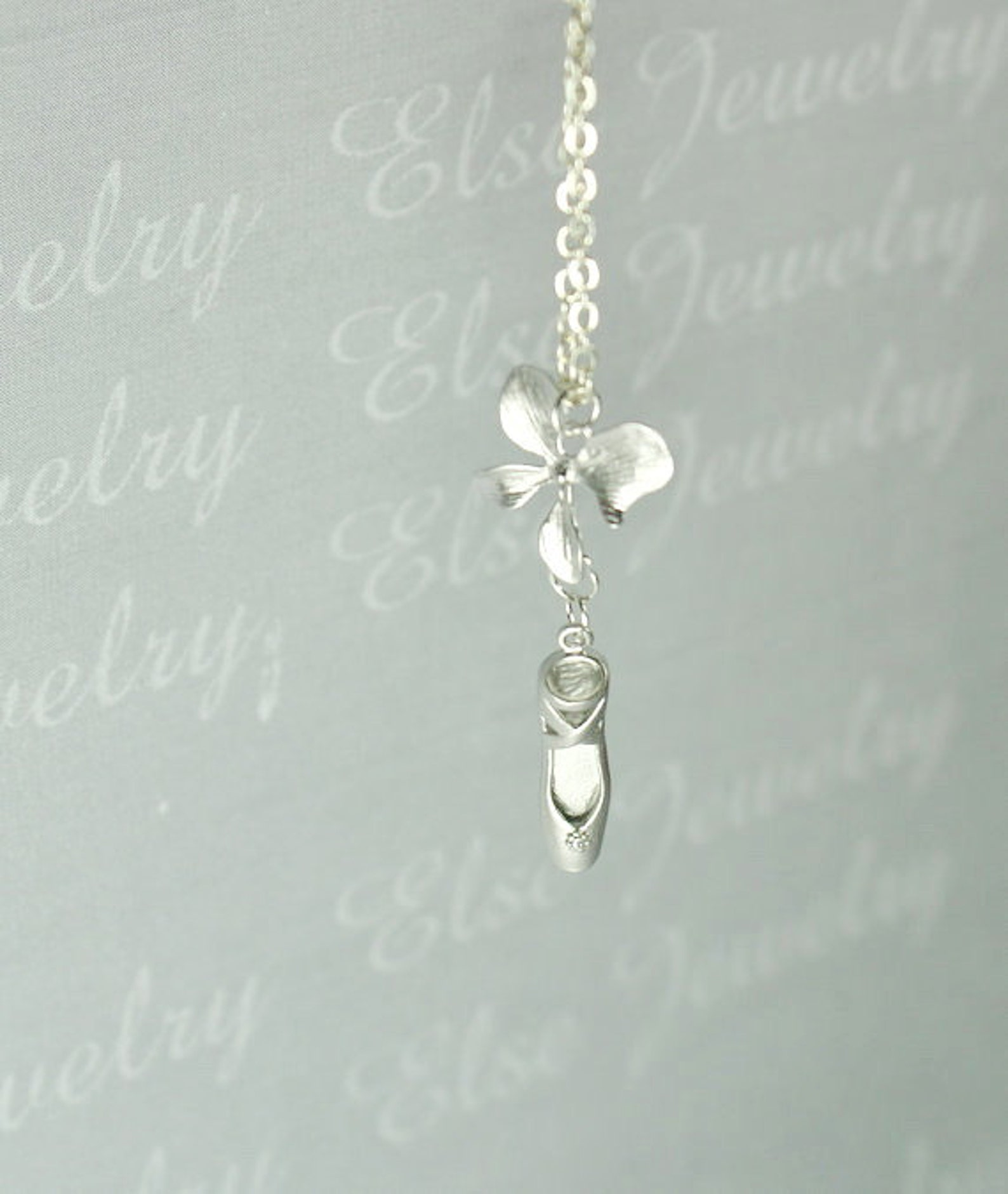 silver ballet orchid necklace - ballet slipper , pointe shoe,ballet dancer necklace,party collection ,holiday gift.ballerina dan