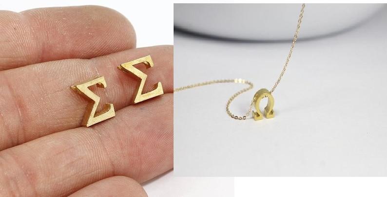 Gold Greek Sigma Letter necklace, Silver Sigma Letter jewelry, Greek Letter  Sigma Jewelry, Greek Alphabet Sigma Charm  Greek initial Sigma