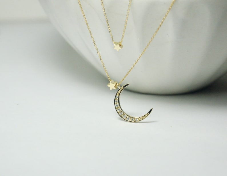 CZ Moon Necklace,2 layer necklace Gold Moon star necklace, Layered Necklace Moon with 2 star Necklace.Star and Crescent Moon Necklace