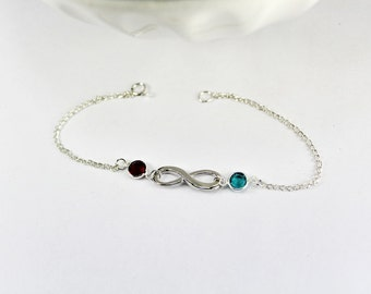 Two Birthstone Infinity Bracelet -  Infinity Bracelet -stackable bracelet, Infinity Birthstone Bracelet - Anniversary Gift - Gift for Her