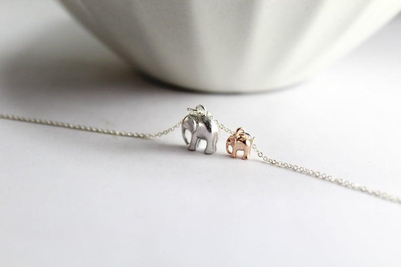 New Mom Necklace. Elephant jewelry. Elephant necklace Two image 0