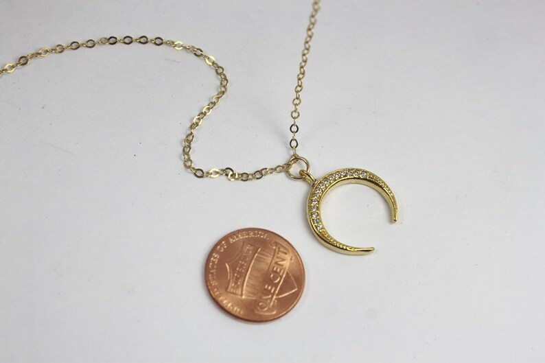 Gold  CZ Horn necklace Upside Down Moon Necklace,Crescent Moon Jewelry Double Horn Layered Necklace,Sparkling horn necklace,Tusk Necklace