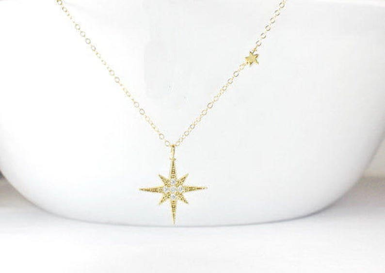 df7bf58381d4b CZ North Star Necklace, Gold North Star Jewelry,North star necklace,  Polaris Necklace, North Star Necklace,Gift for her,star Women Necklace,