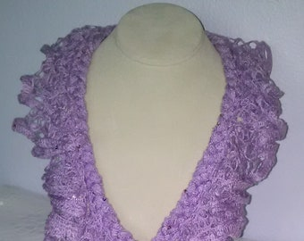Braided Ruffle, Frilly Ladies/Teens Scarf, Accessories, Neck Scarf-Lavender w/Sequins
