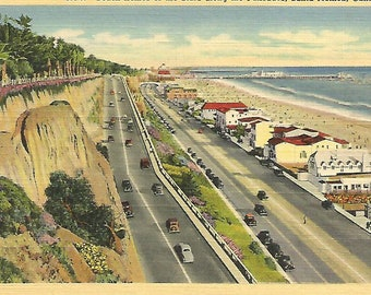Vintage Linen Postcard  Beach Homes of the Stars, Santa Monica, CA., Unposted, Circa 1940's