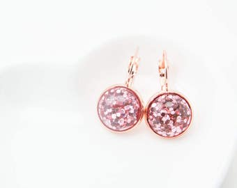 Glitter stone earrings, circle dangle earrings, cute dangle earrings, cute earrings, cute circle earrings, rose gold earrings, rose gold