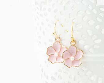 Cherry blossom earrings, cherry dangle earrings, cute dangle earrings, cute earrings, gold dangle, gold dangle earrings, cherry blossom