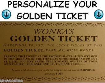 Flat Fee For Personalizing Your Willy Wonka Golden Ticket