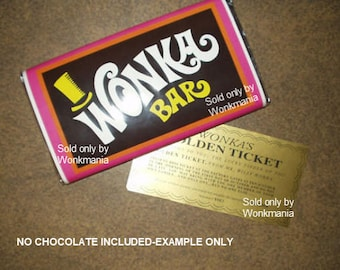 7 oz. sized Willy Wonka chocolate bar wrapper & Golden ticket (no chocolate)-More Products in Our Store!!!