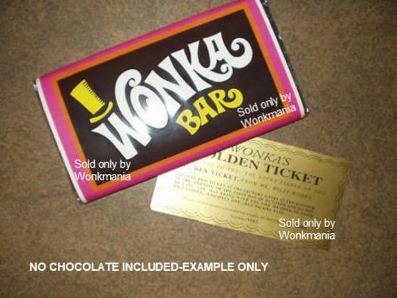 7 Oz Sized Willy Wonka Chocolate Bar Wrapper Golden Ticket No Chocolate