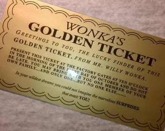 """Laminated: Willy Wonka Golden Ticket  Replica - Measures 6 1/4"""" X 3 1/4"""""""