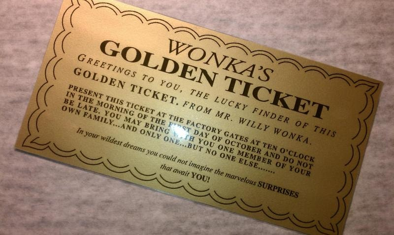 Laminated Willy Wonka Golden Ticket Replica Measures 6 Etsy