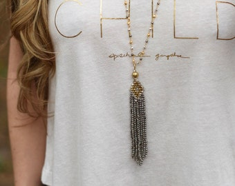 Best Selling Tibetan Pendant | Long Tassel Necklace | Simple | Boho | Delicate Necklace | Rosary | Layering | Gold & Silver | Beaded