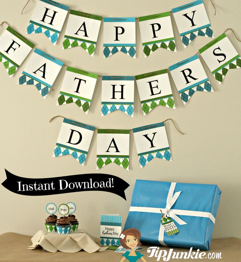 7 Father S Day Party Decorations Printable Cards And Diy Etsy