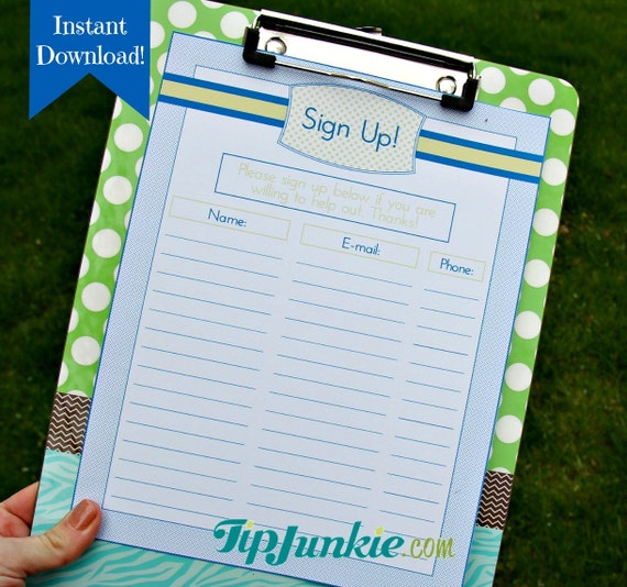 14 sign up sheets potluck snack church sports school