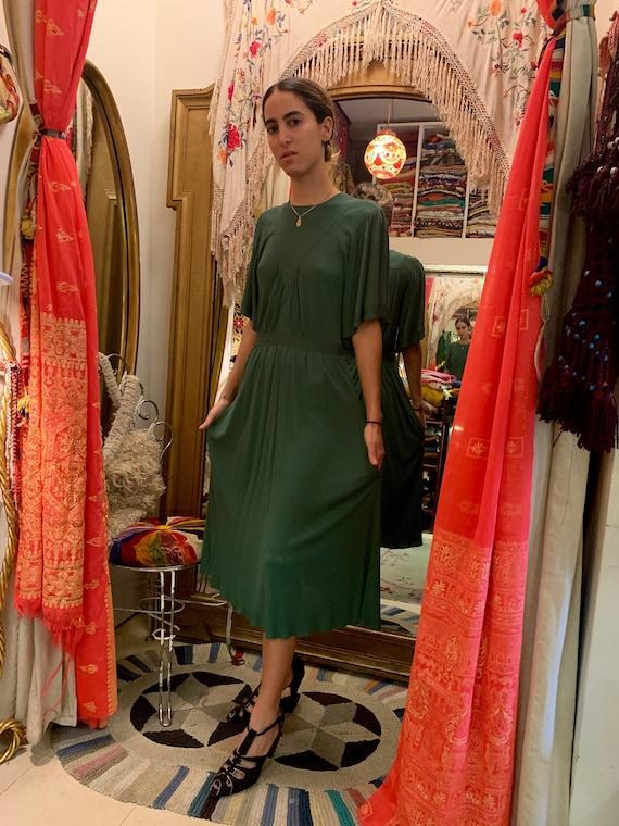 1970's Jean Muir Jewel Green Silk Crepe Dress